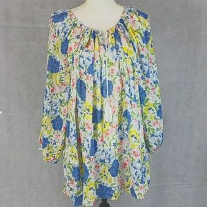 Chaps Floral Spring Baloon Sleeves Top Blouse 3X
